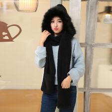 Winter Women Coral Velvet Boa Hooded Hat Beanie Long Scarf Mittens Gloves Girls
