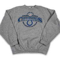 Vintage 1999 Puma Mens Indianapolis Colts NFL Champions Gray Sweatshirt Size 2X