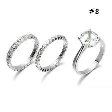 925 Silver HUGE White Sapphire Birthstone Ring Bridal Wedding Women Jewelry Set #8