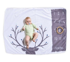 Monthly Baby Milestone Fleece Blanket, 1-12 Months, Baby Shower Gift Boy or Girl