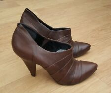 "BERTIE DARK BROWN LEATHER ANKLE BOOTS / BOOTIES 4"" HEEL EU40 UK 6-6.5 NEW"
