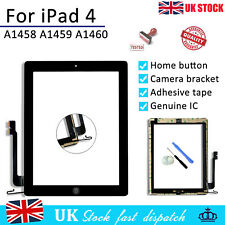 For iPad 4 A1458 A1459 A1460 Black Touch Screen Digitizer Replacement + Adhesive
