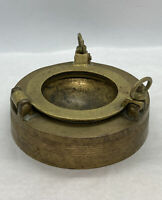 "Vintage Used Maritime Heavy Brass Ashtray Porthole 4.5"" X 2-1/4"" Overall"