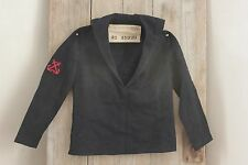 Shirt Vintage French navy wool blue jacket with anchor patch 1962 Military