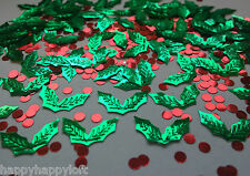 Christmas Table Confetti Xmas Party Holly Decorations Card Sprinkles Red Green