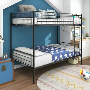 Twin-Over-Twin Bunk Bed with Metal Frame and Ladder, Space-Saving Design,black