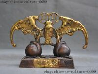 "7""old Chinese bronze hand carved Feng shui wealth auspicious bat statue"