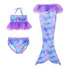 3Pcs Girls Mermaid Swimwear Costume Halter Tops Bottoms Mermaid Tail Bikini Set
