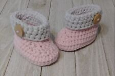 Baby boots booties newborn 0/3 month pink gray button crochet knit handmade new