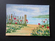 Watercolour painting original Aceo sand beach sea floral miniature art painting