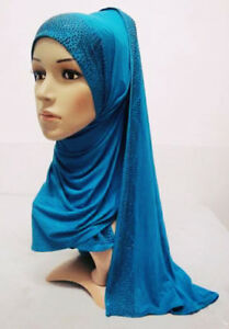 Muslim Arab Woman Hijab Scarf Wrap Jersey Cotton Head Cover Shimmer Rectangle