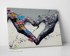 More details for love heart hands graffiti canvas art wall art print picture banksy canvas -c976