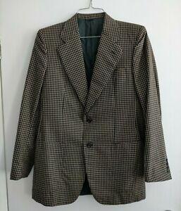 ERMENEGILDO ZEGNA Black Brown Check Suit Jacket - 39-40 inch chest???