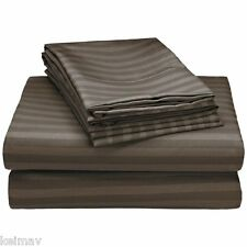 Hampton Collection Embossed Dobby Stripe Luxurious Microfiber Sheet Set (Brown)