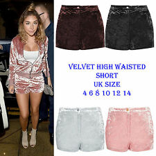 New Women Velvet High Waist Boxers sporty gym Runner Shorts Crushed Hot Pants