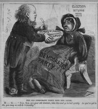 HORACE GREELEY FEEDS THE OLD DEMOCRATIC PARTY CREATURE HER GRUEL ELECTION RETURN