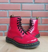 Dr Martens 1460 Boots 3 UK 5 US Classic Ankle 8 eye Bright Red Patent Leather