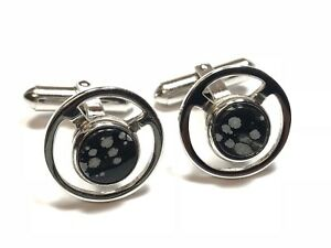 Beautiful Mens Sterling Silver Black & White Agate Cufflinks