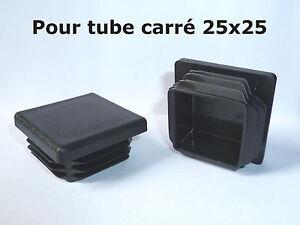 10 Bouchons embouts pour tube carré plastique PVC NOIR 25x25 mm