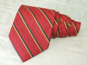 """Brooks Brothers MEN'S TIE RED, BLUE & YELLOW/STRIPED W: 3.6/8"""" L: 56"""""""