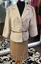 2 Piece Ivory Beige Tan Brown MOB Evening Cruise Business Skirt Jacket Set 16