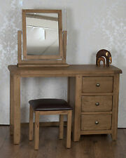 Solid Oak Dressing Table, Stool & Mirror in Chunky Dorset Country FREE DELIVERY!