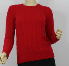 Polo Ralph Lauren Womens Sweater XS Red Cashmere Crewneck Cable Knit