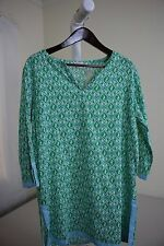 NWT $79 Talbots 100% Cotton Multi-Colored Slit Sides 3/4 Sleeve Long Top Sz-Med