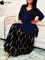 Indian Pakistani Apparel Kurti Kurta Dress With Bottom Plazo Skirt Ethnic Cloth