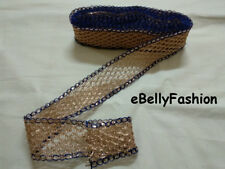 "2"" Wide Golden & Blue sari border Net zari &Tika Craft ribbon trim 9 yard"