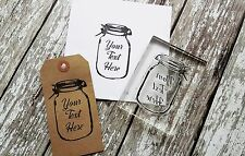 Personalised custom Stamp 'Mason Jar' Crafts, Business, Weddings, Gifts tags
