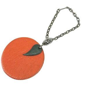 Authentic HERMES Logo Orange Fruits Motif Key Chain Bag Charm Leather 08MH912