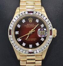 Rolex President 69178 Datejust 18K Yelow Gold 1.05CT Diamond Ruby Bezel Watch