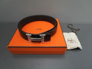 Hermes Leder Gürtel schwarz silberne Schnalle Gr.95 (Sch31-8)
