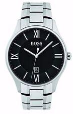 Relojes de pulsera con fecha de plata de acero inoxidable