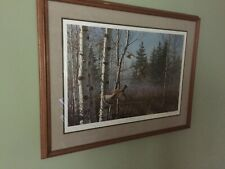 """""""Thundering Out"""" Ruffed Grouse Print by David Maass, Framed, Matted, Limited Ed."""