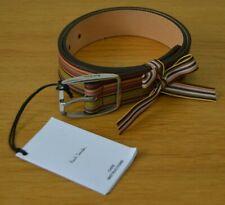 "PAUL SMITH Signature Stripe leather belt Multistripe striped 28"" MADE IN ENGLAND"