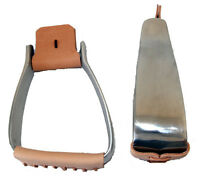 SHOWMAN WESTERN ALUMINUM SADDLE HORSE ANGLED CROOKED STIRRUPS FOR ROPING REINING