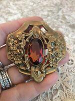Antique Vtg Art Noveau Large Brooch Pin Flowers Amber Stone gold color