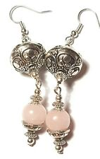 Long Silver Rose Quartz Earrings Drop Dangle Glass Beads Tibetan Style Pierced
