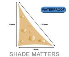 New Waterproof Shade Sail- Right Angle Triangle 2m x 3m x 3.6m Sand Color