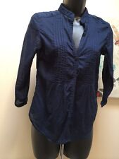 Designer! Akiabara Nordstrom navy semi sheer striped 3/4 sleeve women's sz 2 top