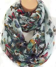 XL Pale Green Cascading Butterfly Print Circle Loop Infinity Scarf Snood New