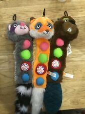 Hartz Dog Toy Squeaker furry Animals with 4 Squeakers 3 Different Characters