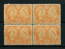 #51 ONE cent Jubilee block of 4 F+ 2xMNH, 2xMH Cat$320 Canada mint