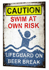 Lifeguard on Beer Break Large Metal Tin Sign Plaque Funny Pool Beach Bar Swimmin