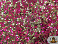 "Sequin 2 Tone Micro Pailletes Fabric FUSCHIA SILVER / 54"" Wide / Sold by the yar"