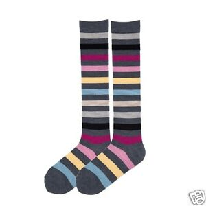 K.Bell Gray W/Bright Stripe Merino Wool Blend Knee High Socks Ladies NWT