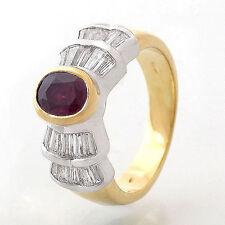 Ring mit Rubin ca. 1 ct & Diamantbesatz ca. 1,3 ct TW/VS - 18K Gelb-/Weißgold