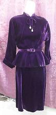 40s Deep Purple Velvet Suit w/ Rhinestone drops sz S